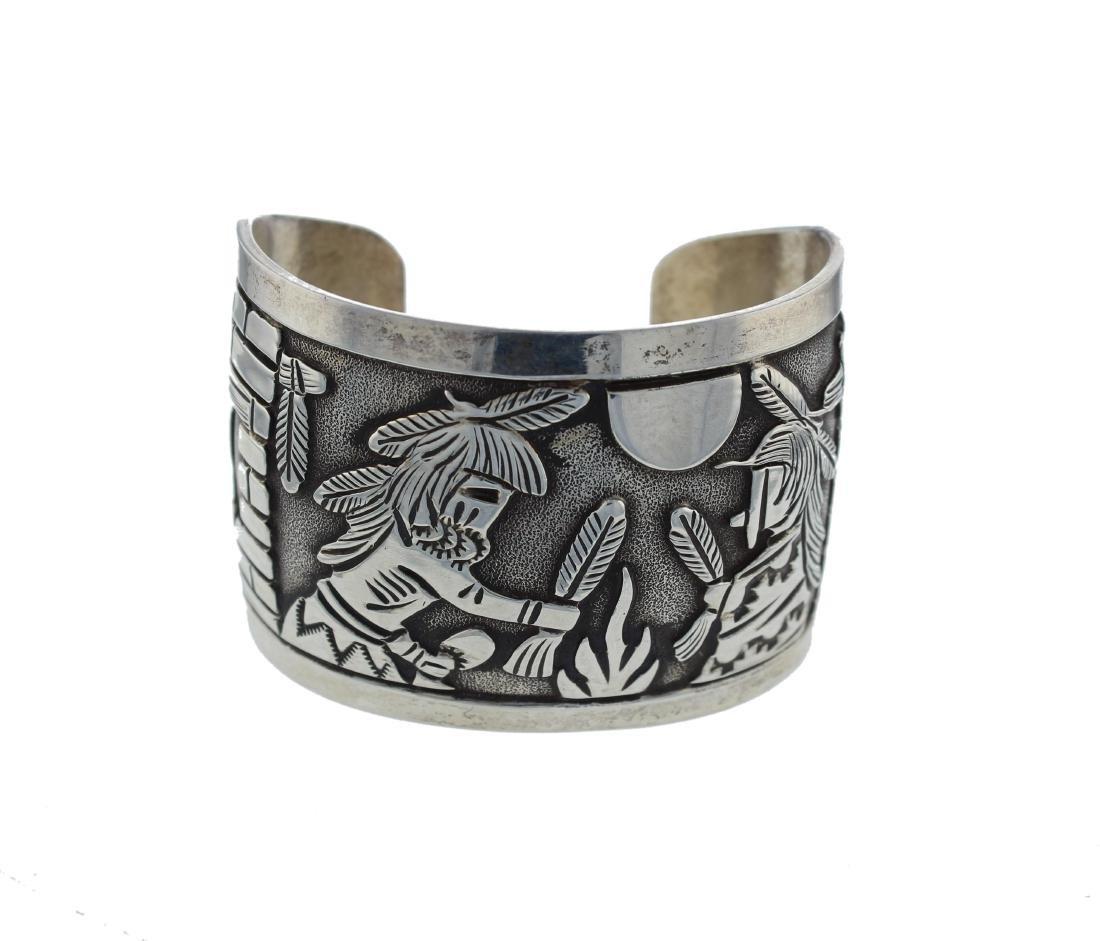Sterling Silver Vintage Story Teller Bracelet Navajo