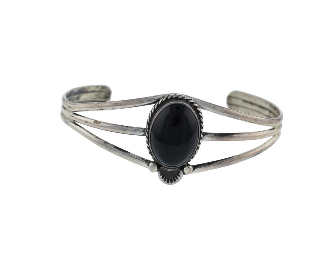 Sterling Silver Black Onyx Bracelet Navajo Native