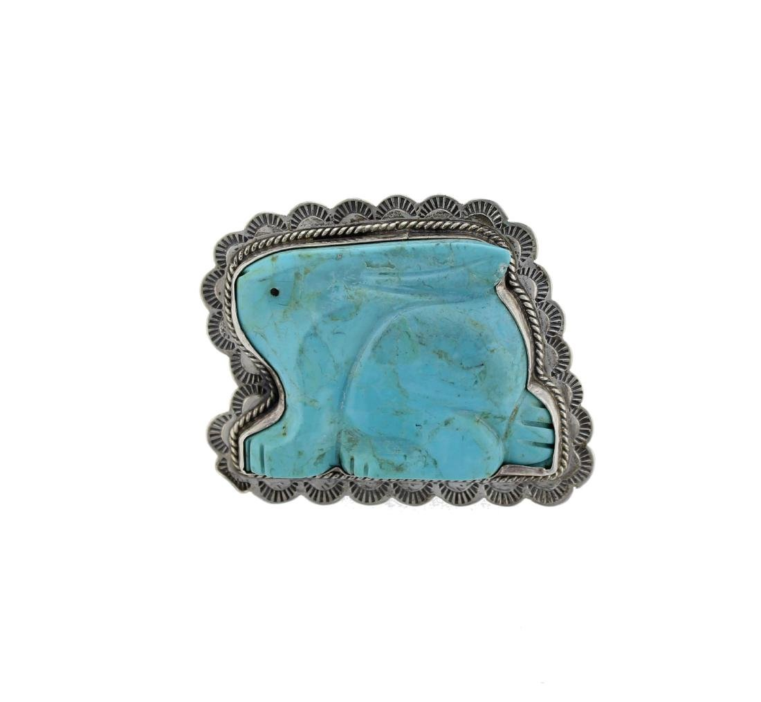 Sterling Silver  Turquoise Pin Navajo Native American