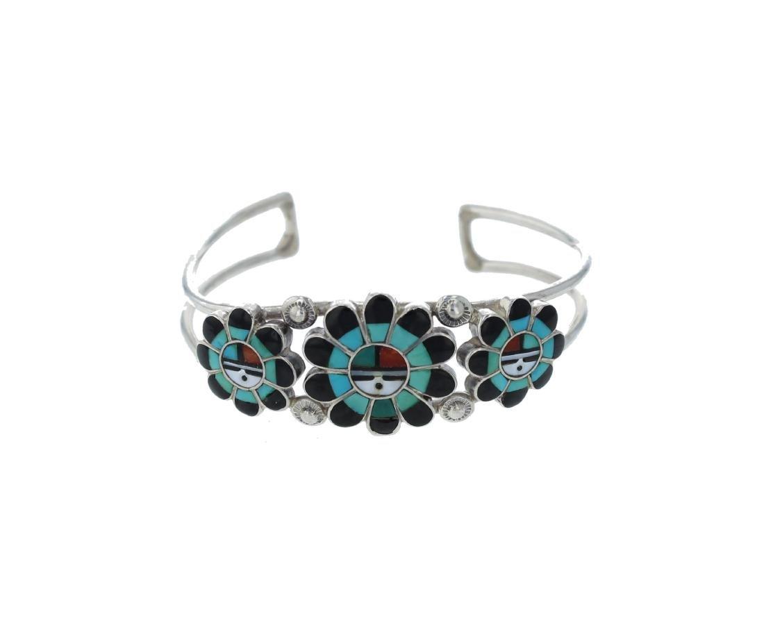 Sterling Silver  Multi Stone Bracelet Zuni Native