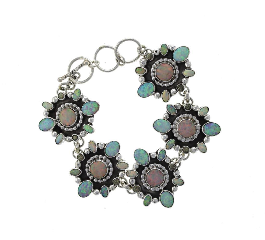 Sterling Silver Synthetic Opal Link Bracelet Navajo