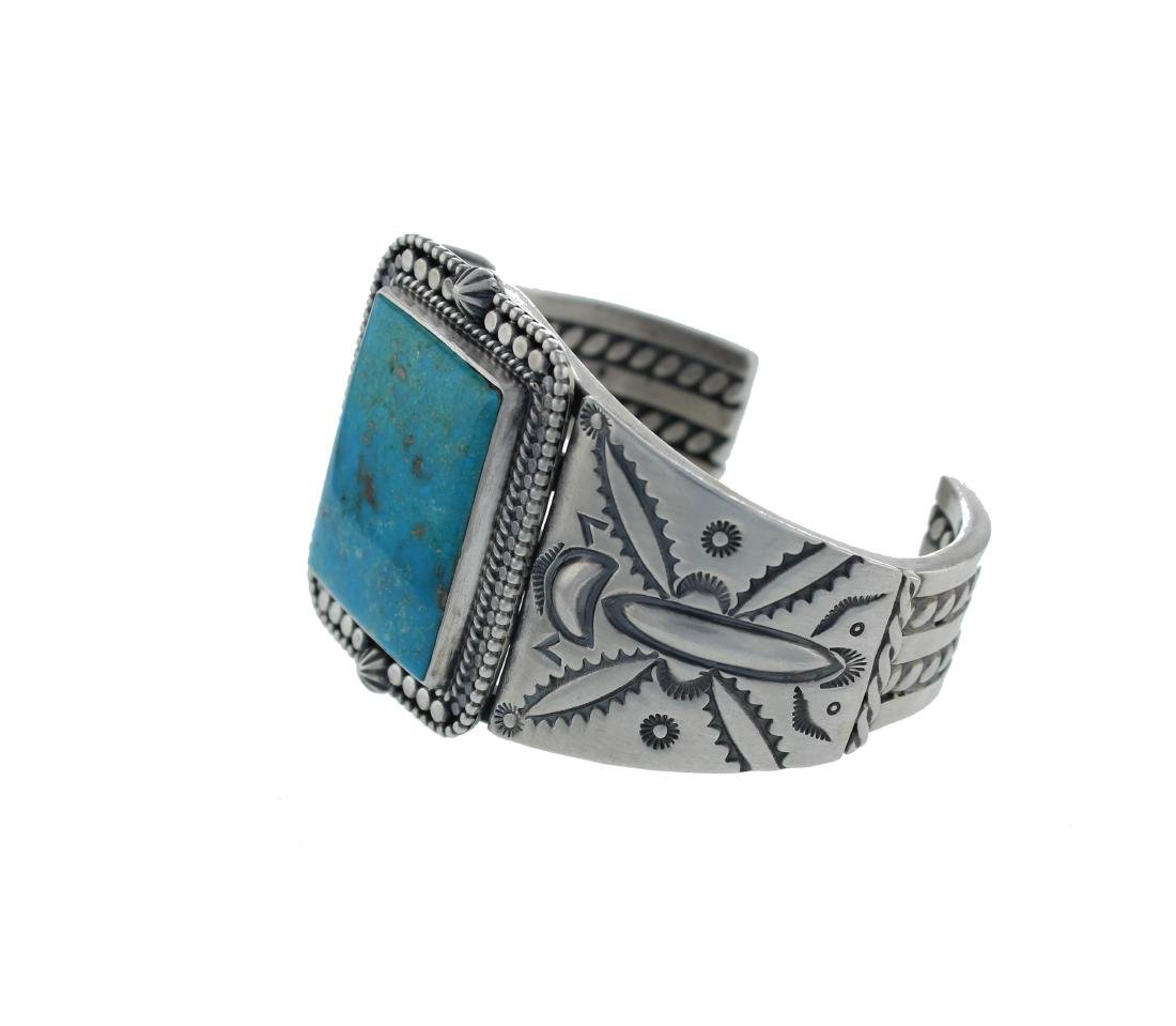 Sterling Silver  Turquoise Masterpiece Bracelet Navajo - 2
