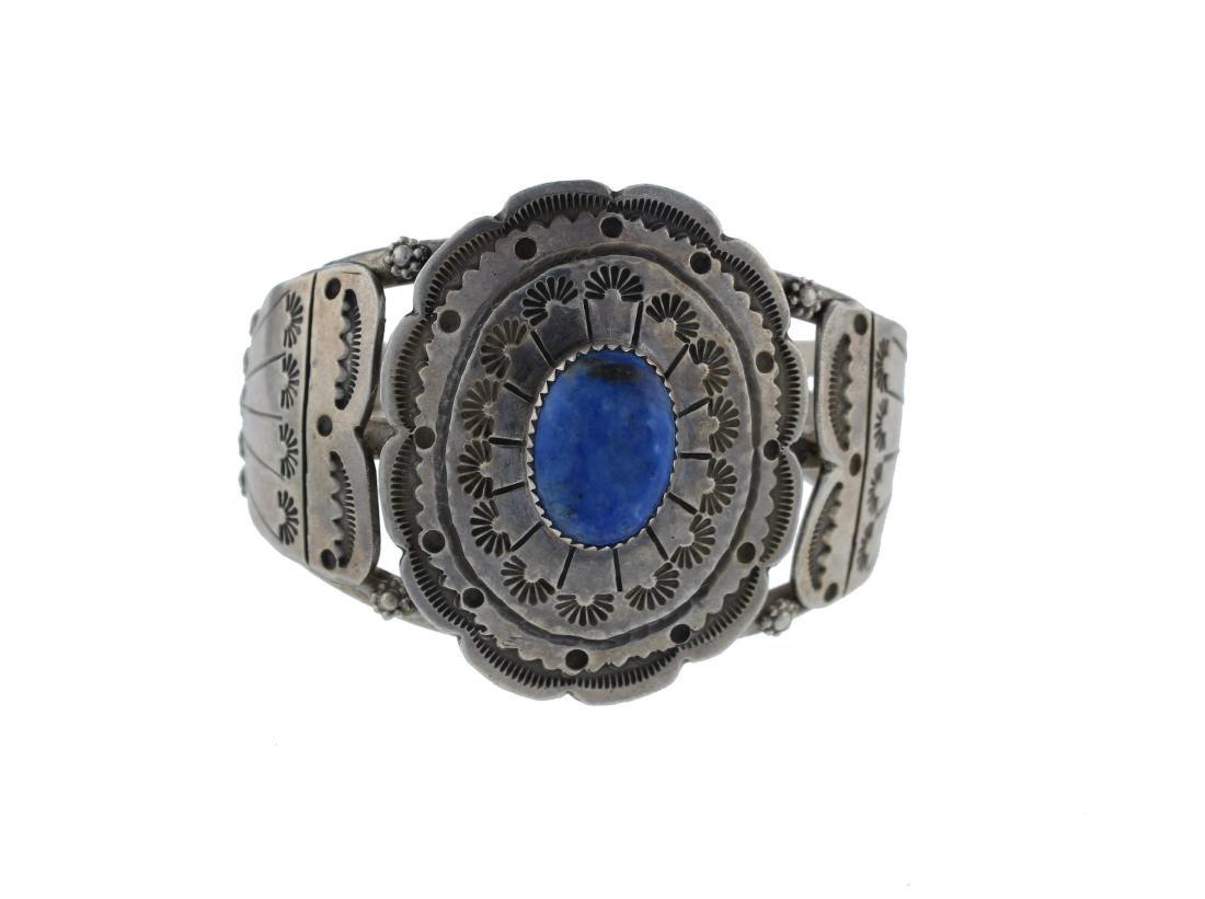 Sterling Silver  Lapis Vintage Bracelet Navajo Native