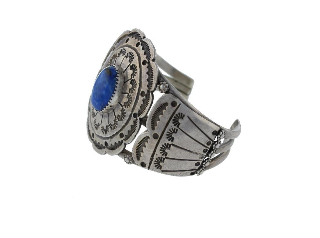 Sterling Silver  Lapis Vintage Bracelet Navajo Native - 2