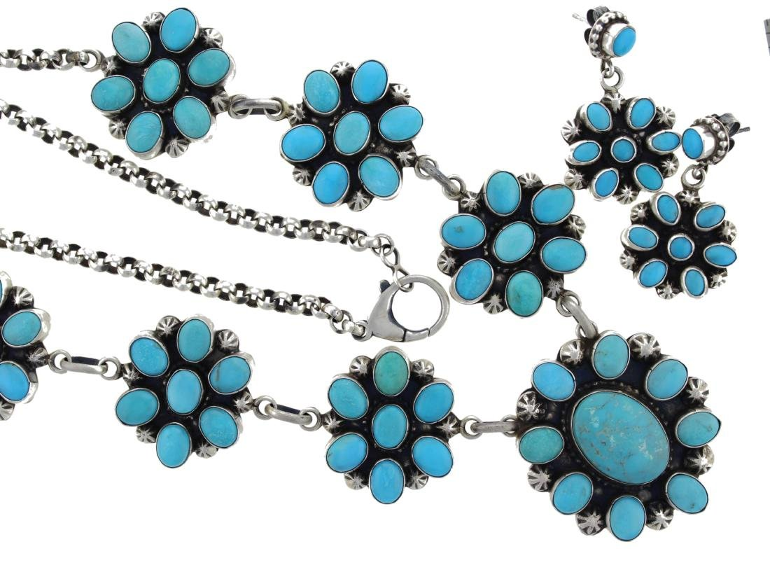 Sterling Silver  Turquoise Masterpiece Cluster Necklace