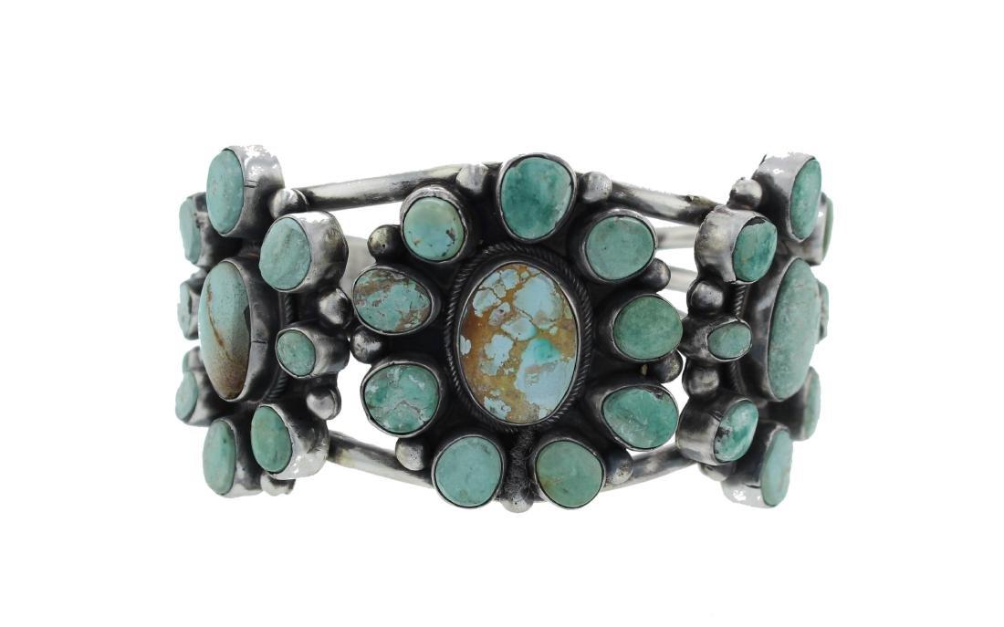 Sterling Silver  Turquoise Masterpiece Cluster Bracelet