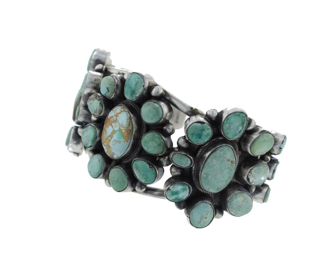 Sterling Silver  Turquoise Masterpiece Cluster Bracelet - 2