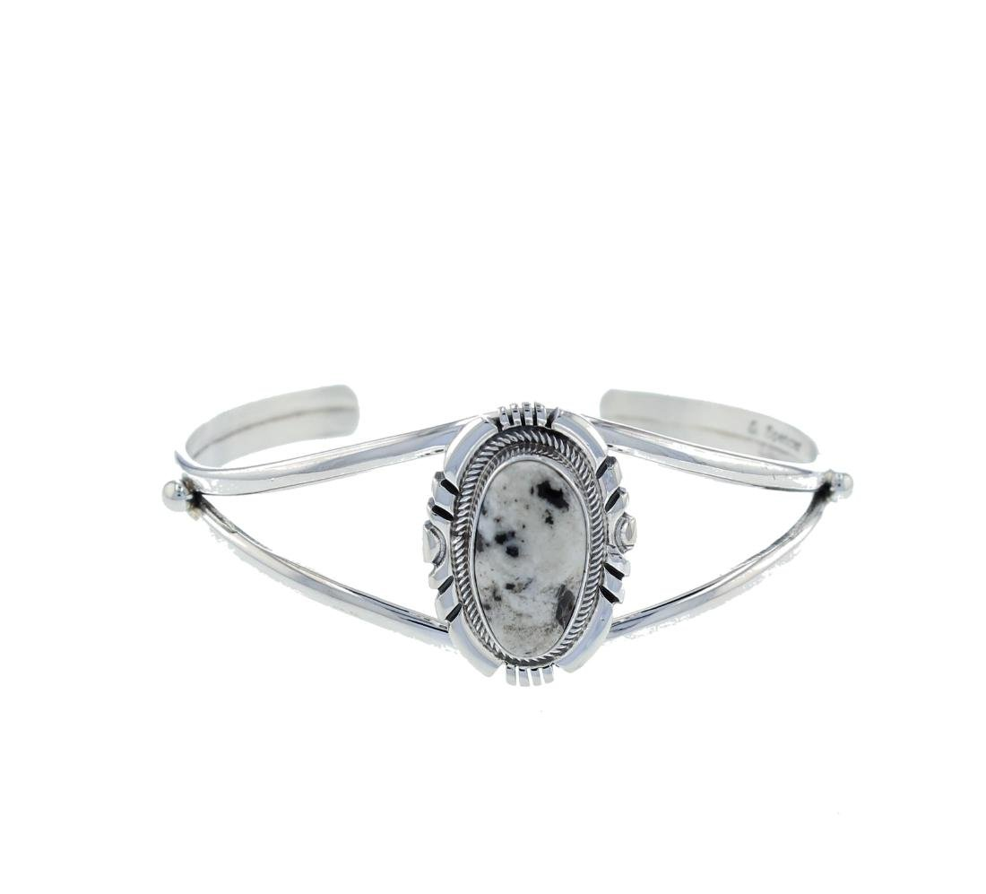 Sterling Silver  White Buffalo Turquoise Bracelet