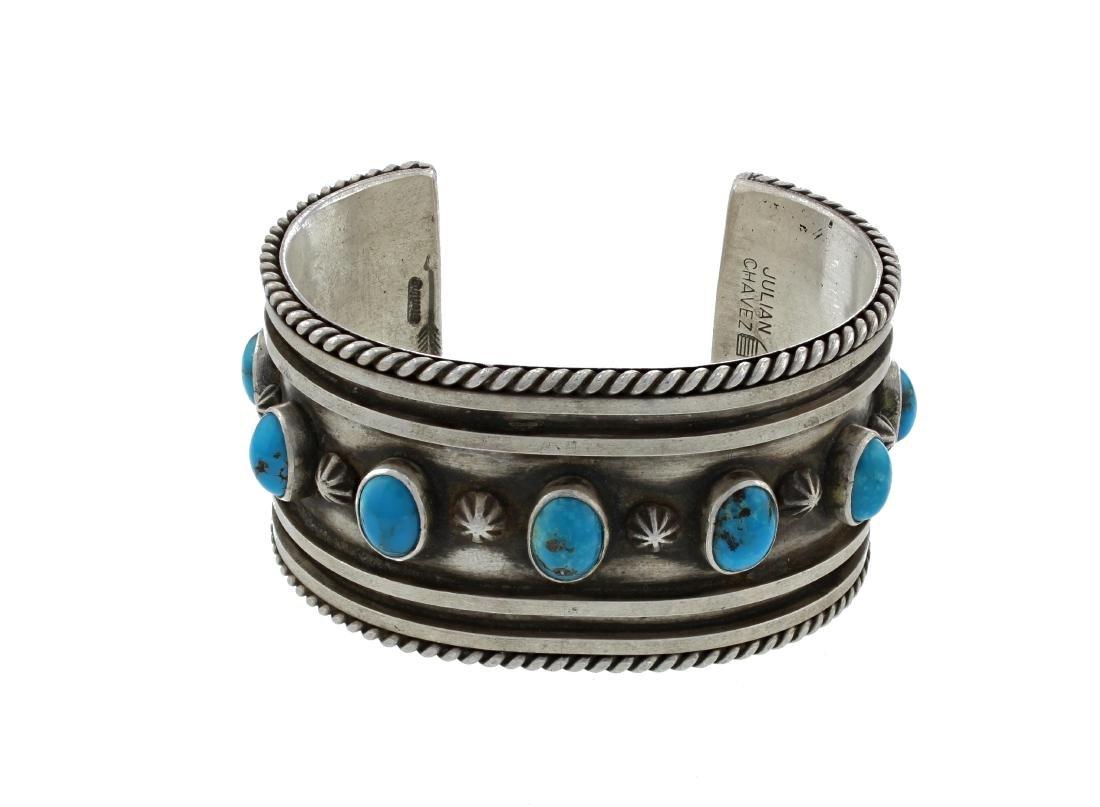 Sterling Silver  Turquoise Vintage Bracelet Navajo