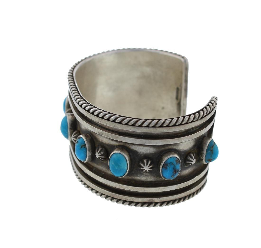 Sterling Silver  Turquoise Vintage Bracelet Navajo - 2