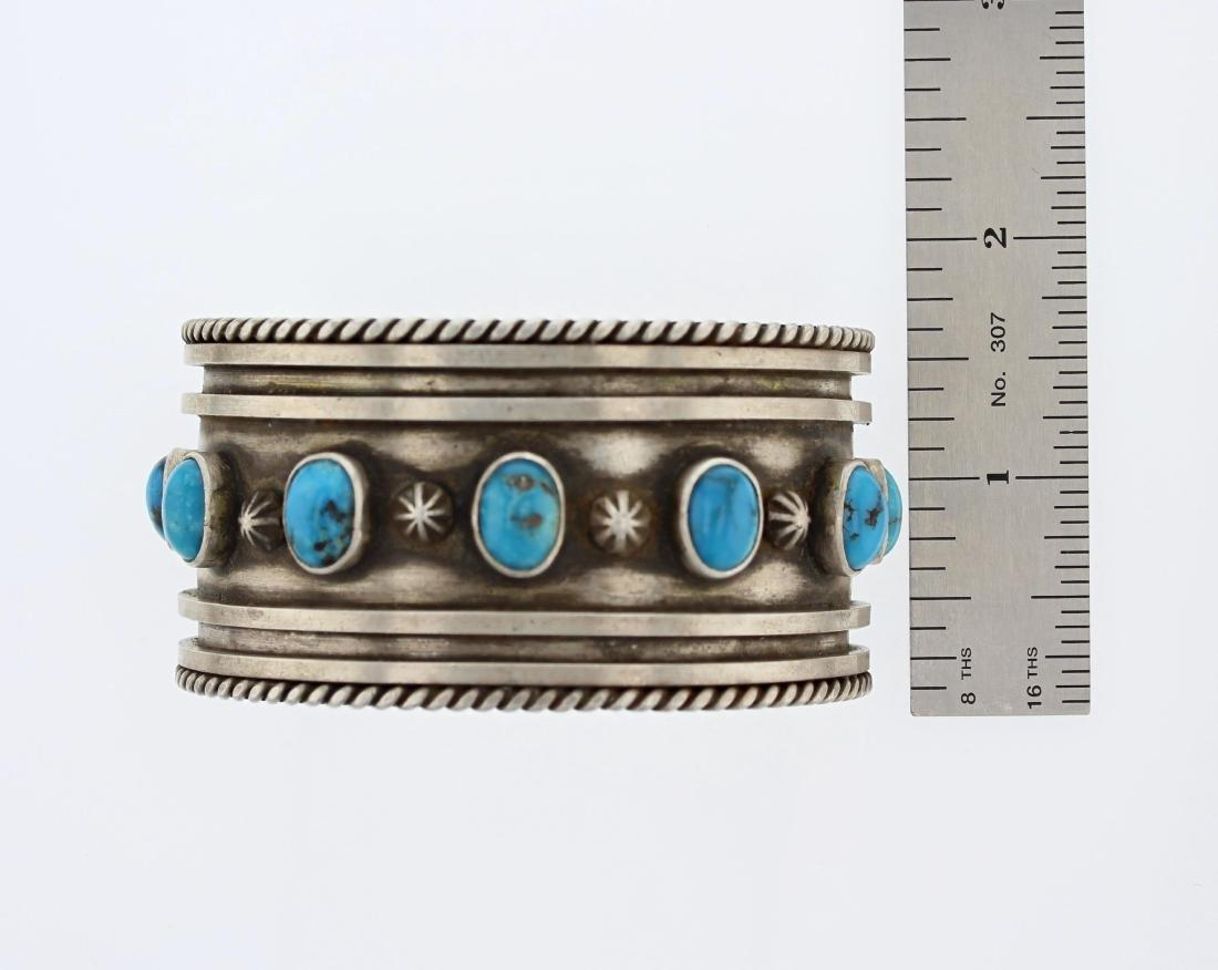 Sterling Silver  Turquoise Vintage Bracelet Navajo - 3