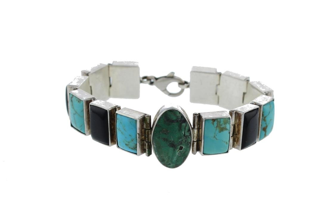 Sterling Silver  Turquoise Link Bracelet Navajo Native