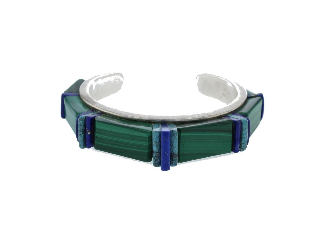 Sterling Silver Vintage  Multi Stone Bracelet Navajo