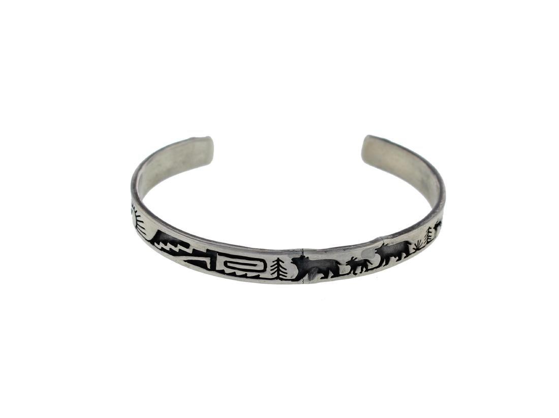 Sterling Silver Story Teller Bracelet Hopi Native