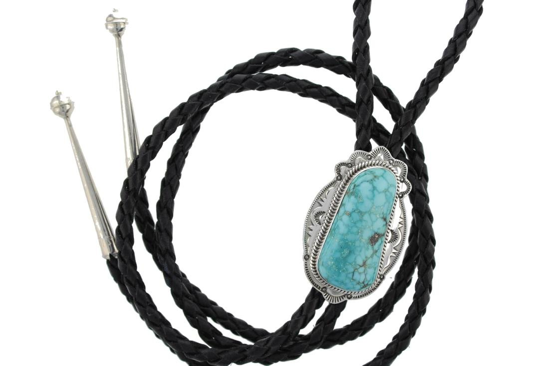 Sterling Silver  Turquoise Bolo Tie Navajo Native