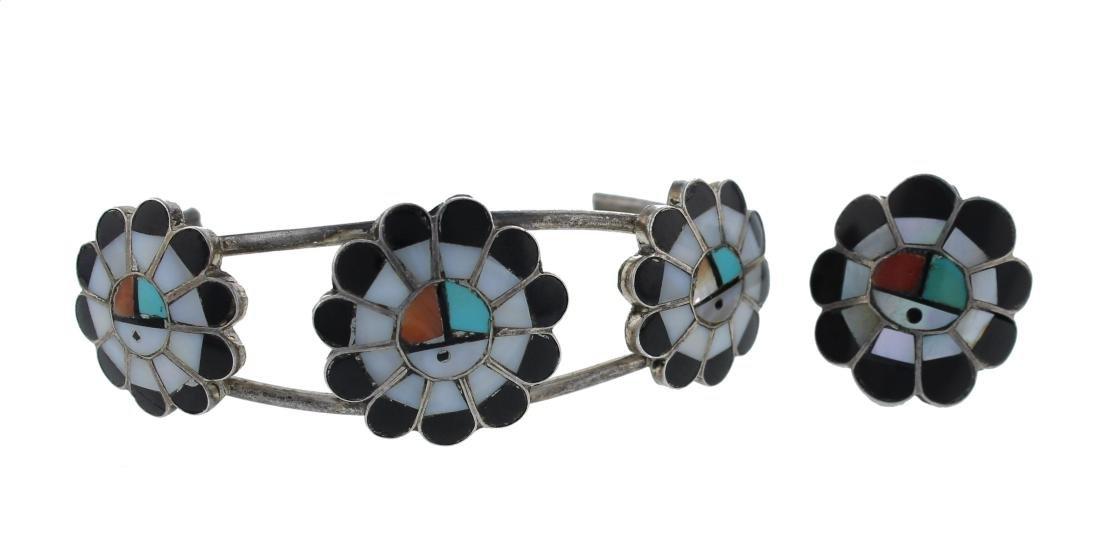 Sterling Silver  Multi Stone Vintage Bracelet & Ring