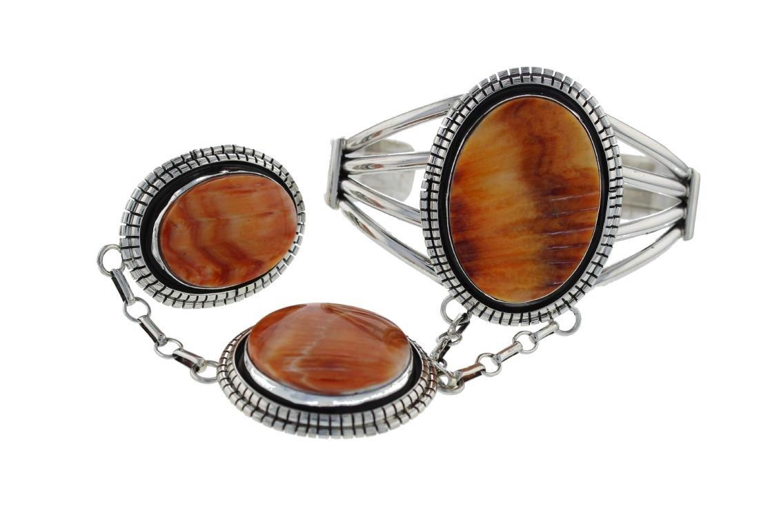 Sterling Silver  Spiny Oyster Slave Bracelet & Ring Set