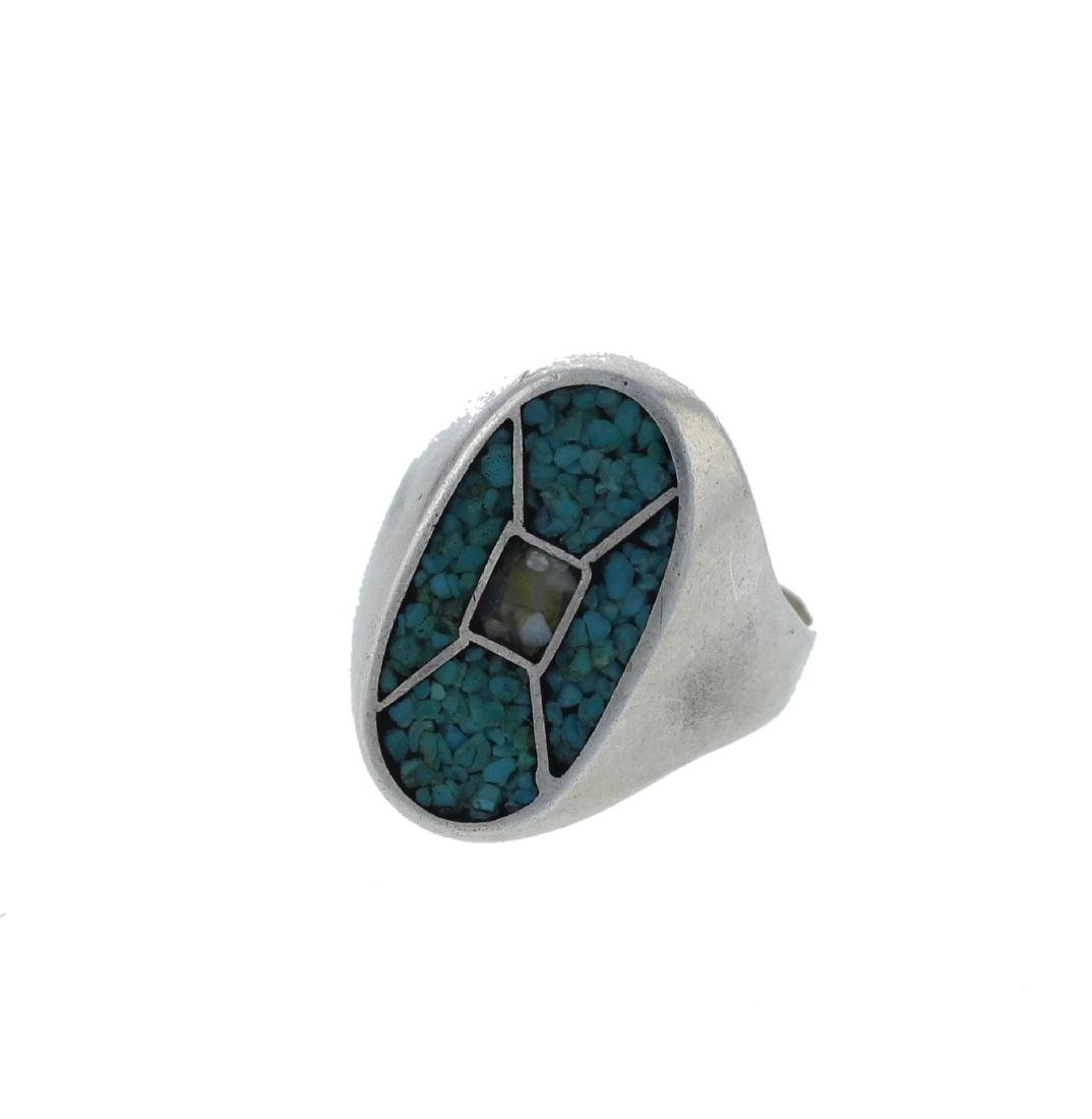 Sterling Silver Block Turquoise Ring Navajo Native