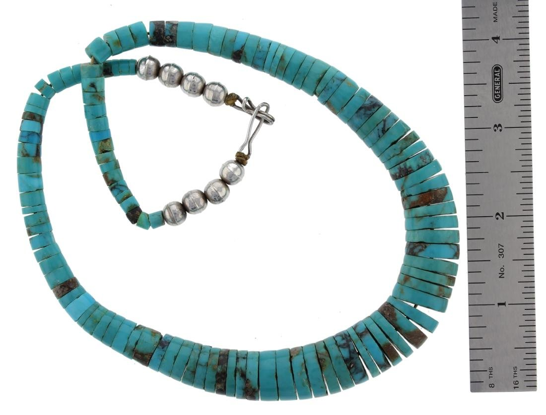 Sterling Silver  Turquoise Necklace Navajo Native - 2
