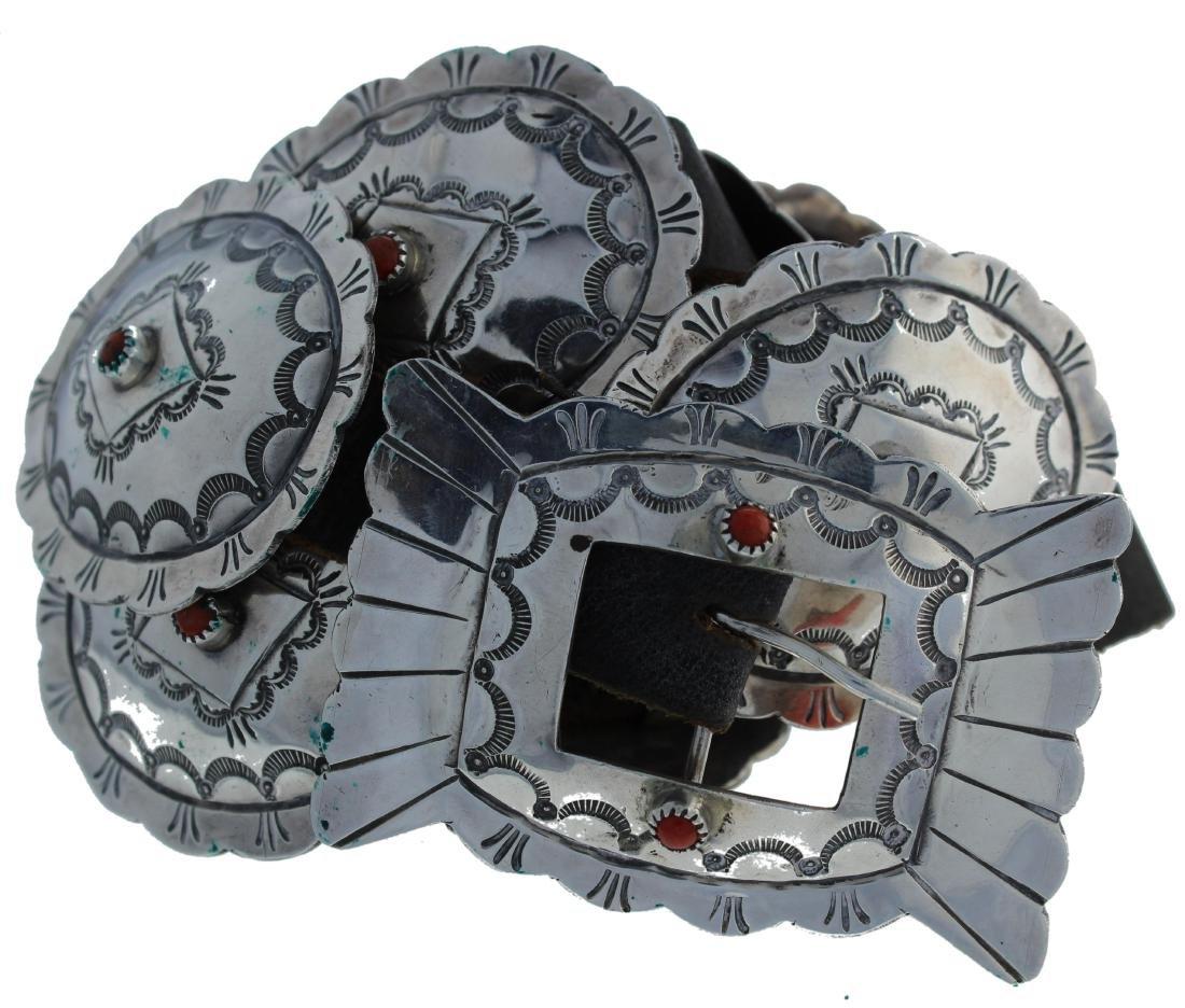 Sterling Silver  Coral Vintage Concho Belt Navajo