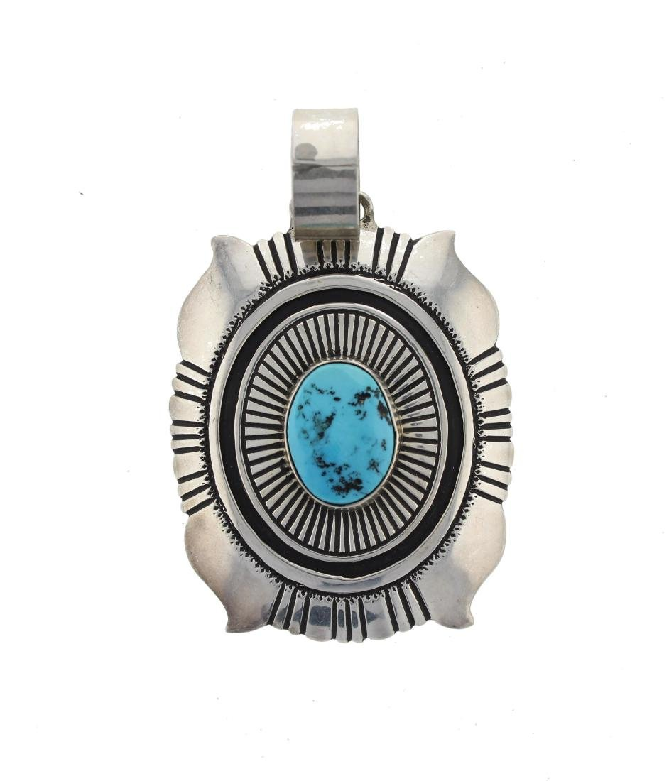 Tommy Singer Sterling Silver  Turquoise Pendant Navajo