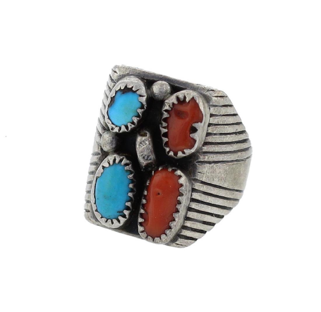 Sterling Silver Genuine Turquoise & Coral Ring Navajo