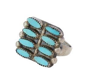 Sterling Silver  Genuine Vintage Turquoise Ring Navajo