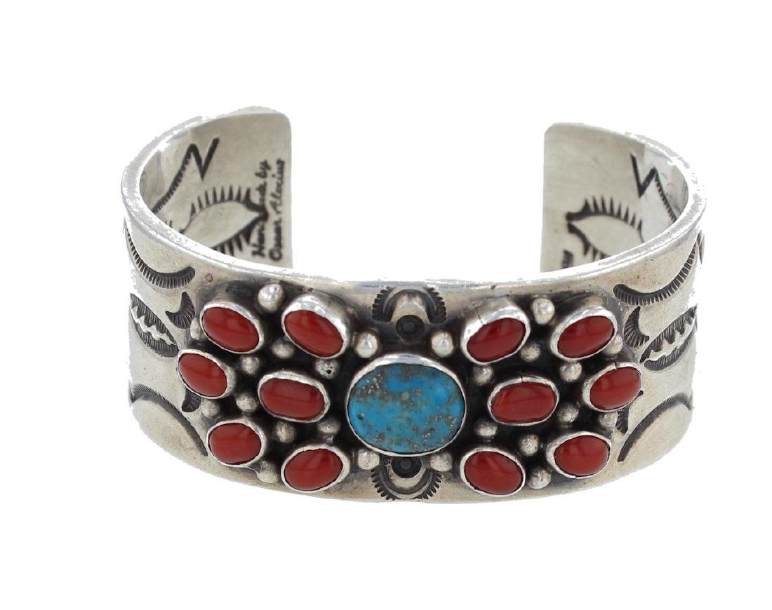 Sterling Silver Genuine Turquoise & Coral Masterpiece