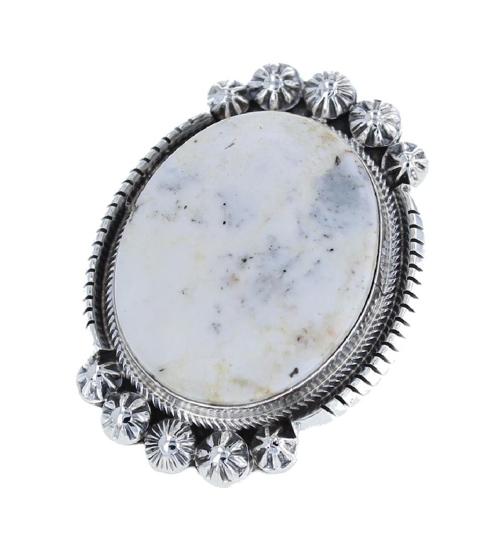 Sterling Silver Genuine White Buffalo Ring Navajo
