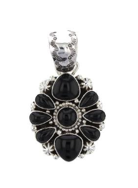 Sterling Silver Black Onyx Pendant Navajo Native