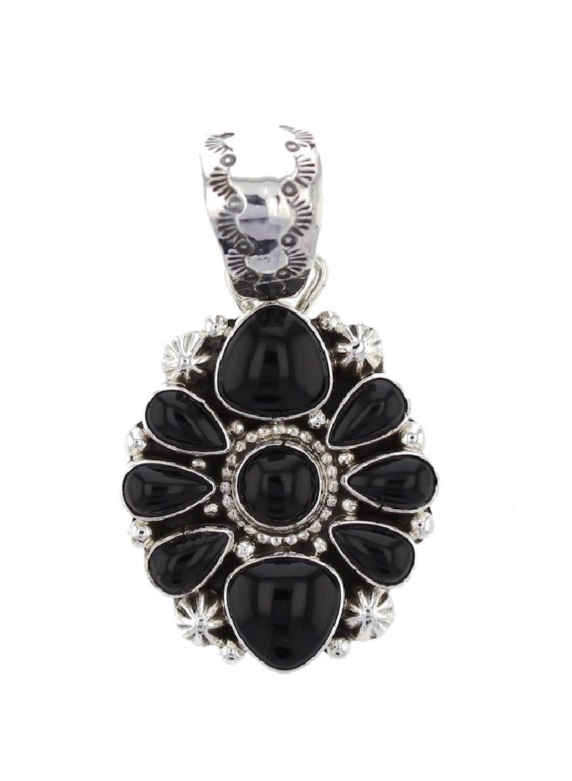 Sterling Silver Black Onyx Pendant Navajo Native