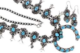 Sterling Silver Genuine Turquoise Squash Blossom