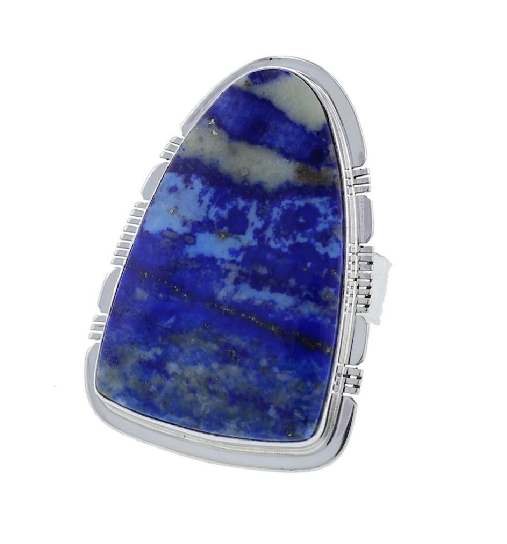 Sterling Silver Genuine Lapis Ring Navajo Native