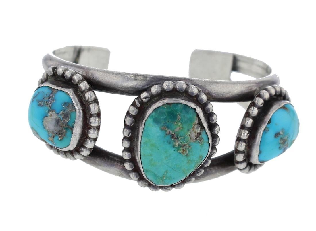 Sterling Silver Genuine Turquoise Vintage Classic