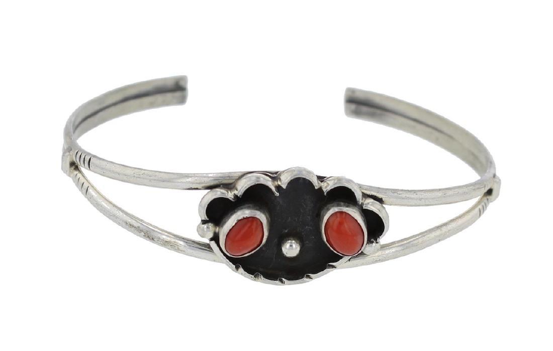 Sterling Silver Genuine Coral Bracelet Navajo Native