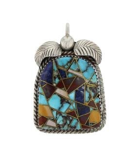 Sterling Silver Genuine Multi Stone Mosaic Inlay