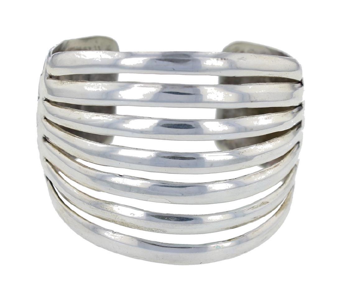 Sterling Silver Classic Row Bracelet Navajo Native