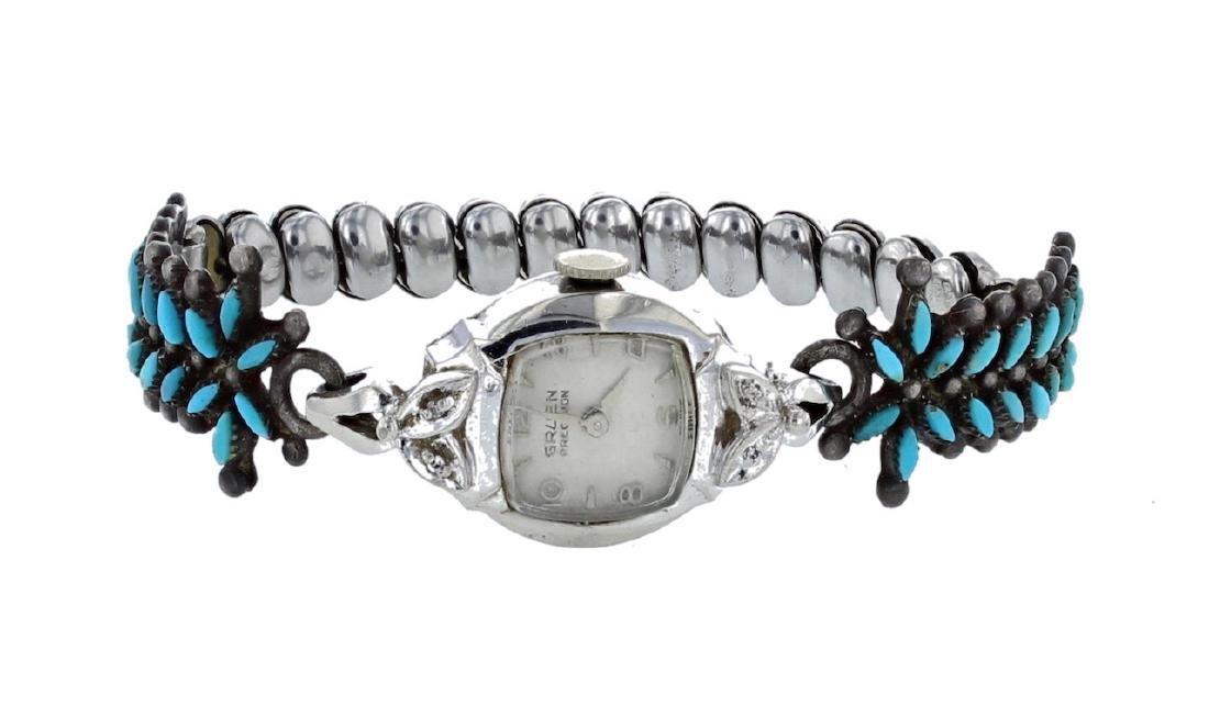 Sterling Silver Genuine Turquoise Watch Bracelet Navajo