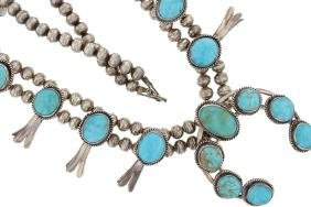 Sterling Silver Genuine Turquoise Vintage Squash