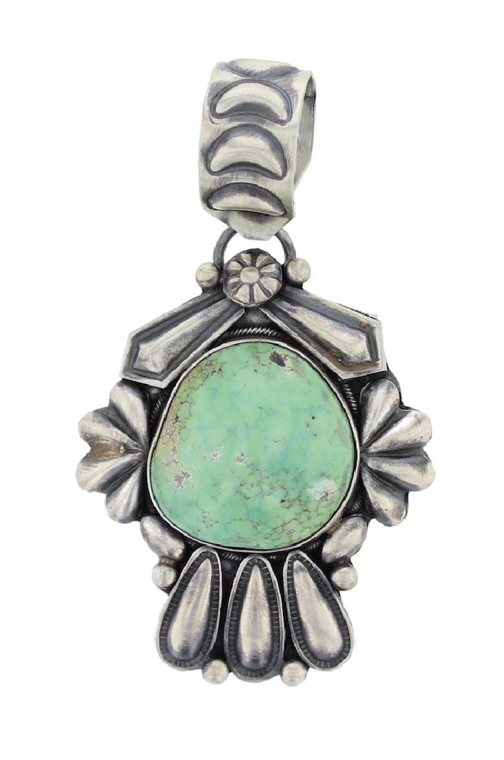 Sterling Silver Genuine Turquoise Masterpiece Pendant