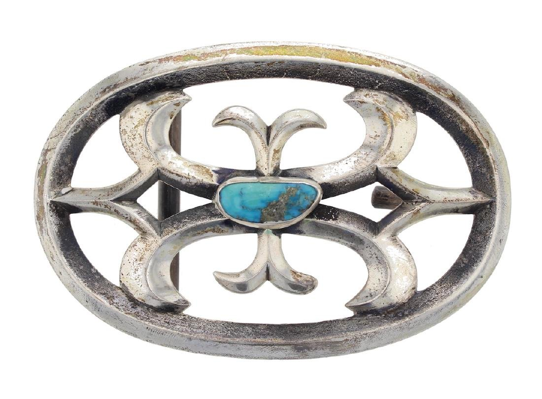 Sterling Silver Genuine Turquoise Antique Sand Cast