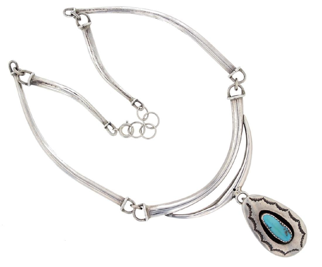 Sterling Silver Necklace& Pendant Genuine Turquoise