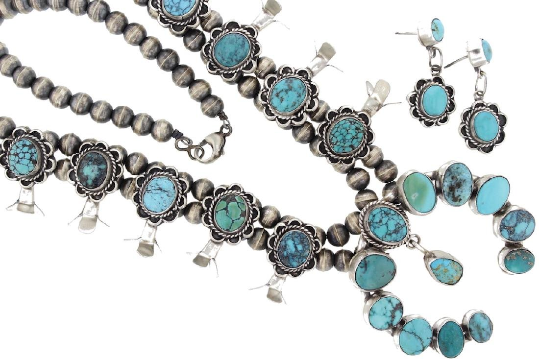 Sterling Silver Genuine Turquoise Classic Squash