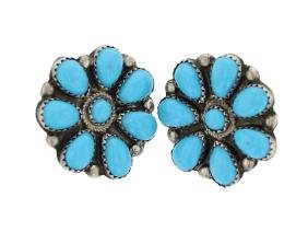 Sterling Silver Block Turquoise Earrings Navajo Native