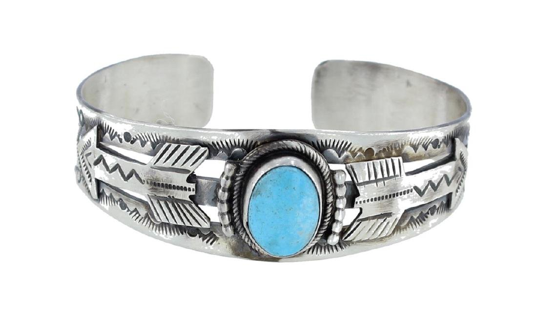 Sterling Silver Genuine Turquoise Arrow Bracelet Navajo