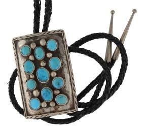 Sterling Silver Genuine Turquoise Antique Bolo Tie