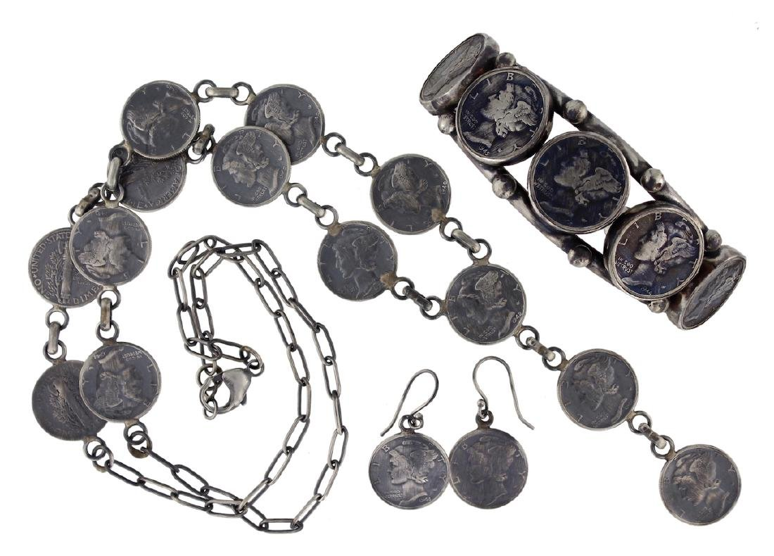 Sterling Silver & Genuine Mercury Dime Classic Necklace