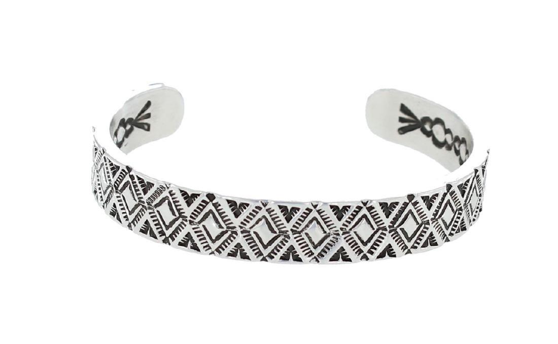 Sterling Silver Johnathan Nez Heavy Stamp Bracelet