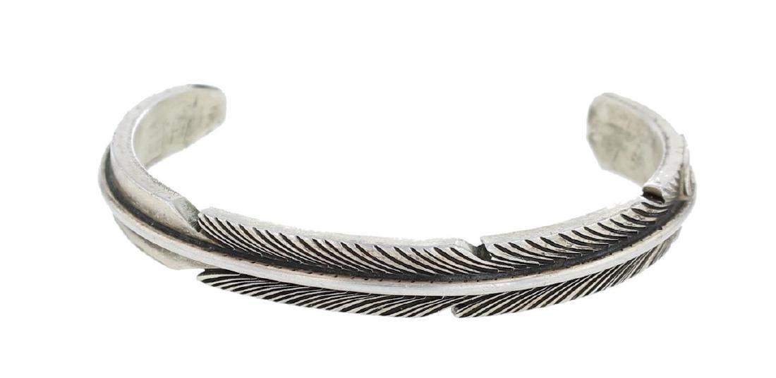 Sterling Silver Vintage Feather Bracelet Navajo Native