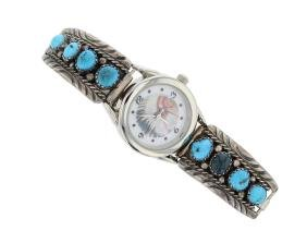 Sterling Silver Genuine Turquoise Vintage Watch